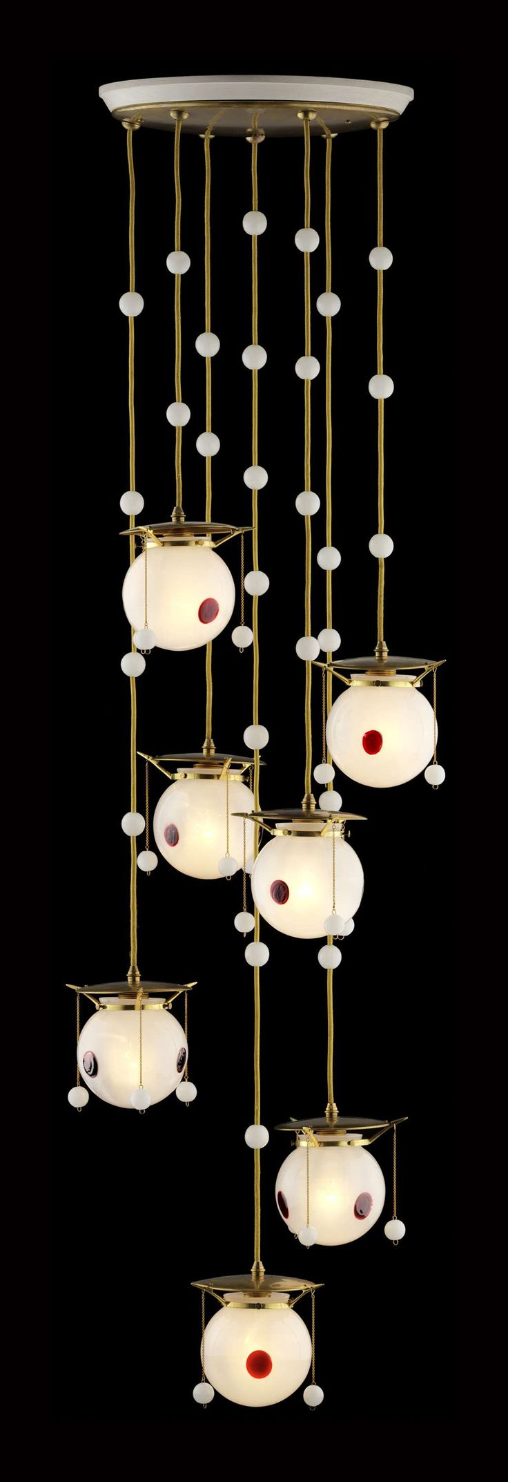 ** Koloman Moser Hanging chandelier  1905 Glass and brass