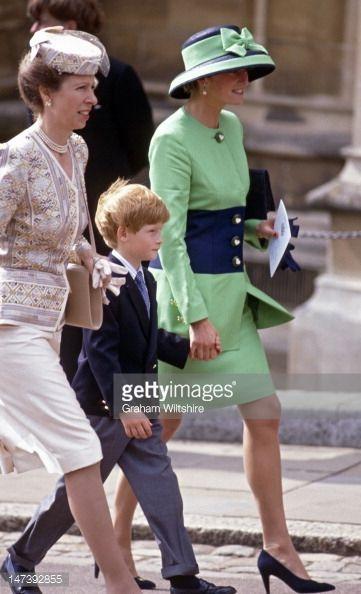 Princess Anne, Prince Harry and Diana, the Princess of Wales.