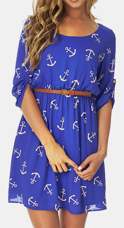 Blue & Cream Anchor Belted Roll-Tab Sleeve Dress