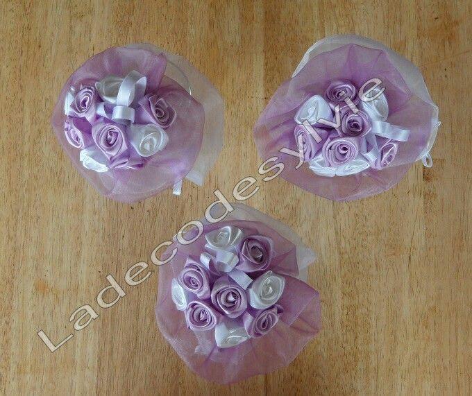 Bouquets de demoiselles d'honneur enfant en satin et organza