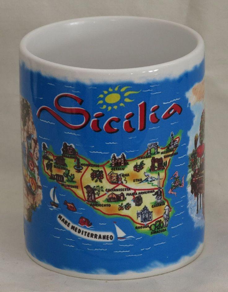 Sicily Italy souvenir collectible ceramic mug Sicilia Italia Mediterranean