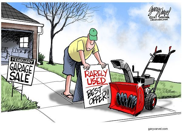 WINTER SALES | Feb/21/17 Cartoon by Gary Varvel: Rarely used snow blower sale