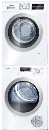 Bosch BOWADREW13 Stacked Washer & Dryer Set with Front Load Washer and Electric Dryer in White