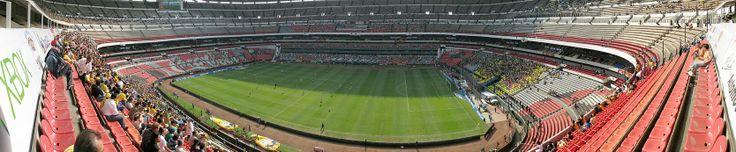 A panorama of Estadio Azteca during a Club América match (Mexico City) vs Tecos (Guadalajara),