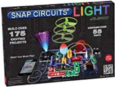 This new addition to the popular Snap Circuits line lets kids explore the wonders of light though fiber optics, LEDs, and much more! The manual includes instructions for 182 projects -- or, let your imagination be your guide! The simple, modular, snap-together design is perfect for experimenting.This set includes infrared detector, strobe light, color changing LED, lighted and glow-in-the-dark fans, strobe integrated circuit (IC), fiber optic communication, and a color organ that's contro...