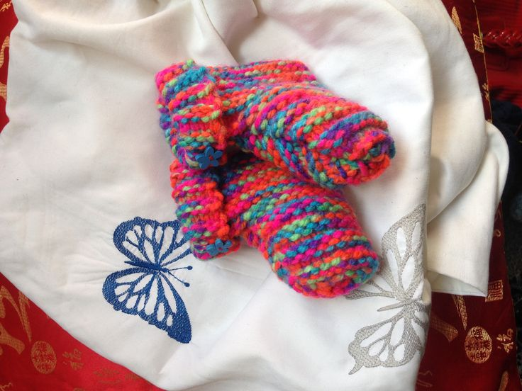 Brightly coloured baby toddler slipper slip socks great gift flourescent wools rainbow with wooden flower buttons by EnglishRoseFineArts on Etsy
