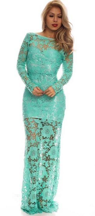 BG1817. New in store. This gorgeous Tiffany blue, long sleeve, open back, textured lace dress. We have a range of less formal, playful, full length dresses ideal for your ball or evening event. All selling at $199 and available for hire too. Come and visit us in Albany village in our new improved store. The air conditioning will keep you cool!!