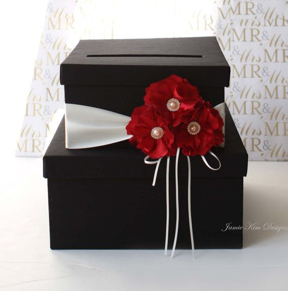 Red flowers Wedding Card Box custom made to by jamiekimdesigns, $103.00