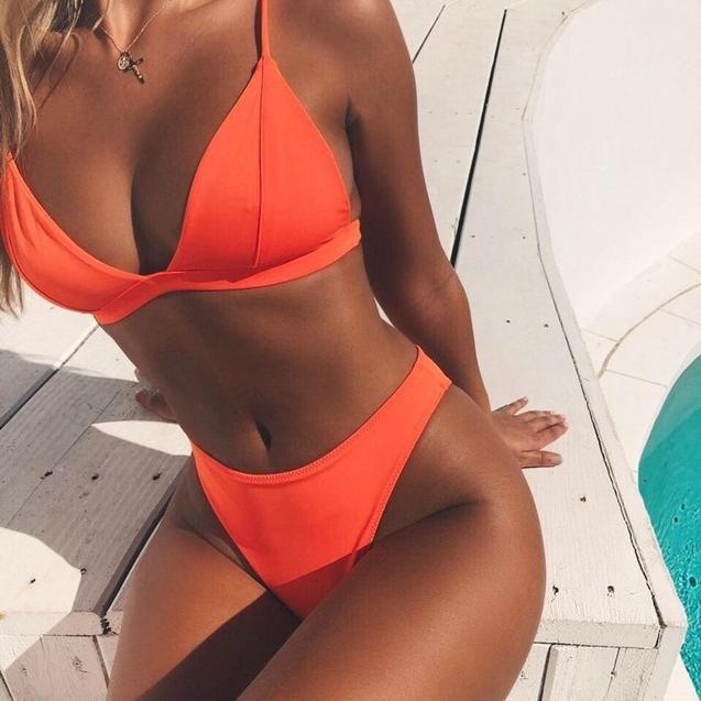 Summer Solid Beach Sexy Swimsuit for Women Bikini Set 2