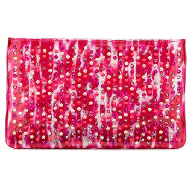 Christian Louboutin Loubiposh Glitter Clutch Bag (30 740 UAH) ❤ liked on Polyvore featuring bags, handbags, clutches, pink multi, chain strap purse, christian louboutin, pink handbags, glitter purse and chain handle handbags