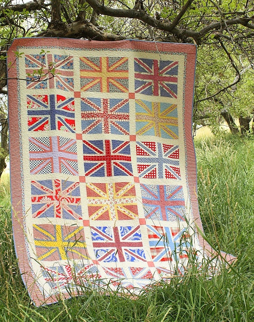 Diary of a Quilter - a quilt blog: Finished Union Jack Quilt  I like this color combination.