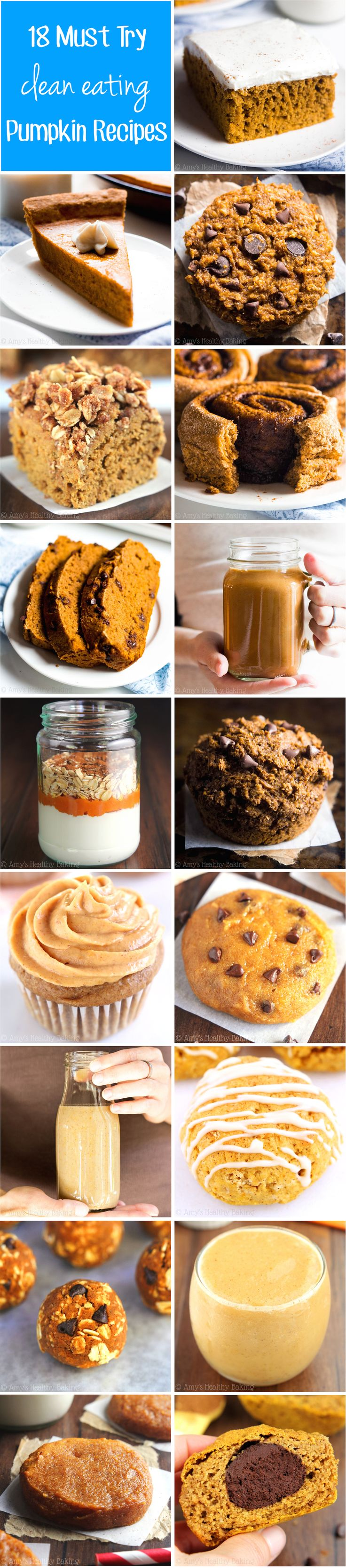 18 Must Try Clean Eating Pumpkin Recipes -- the BEST healthy fall breakfasts, desserts & snacks! All are made with NO refined flour or sugar!