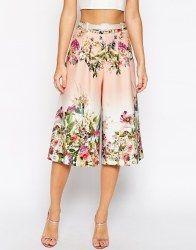 Culottes - Falda pantalón de neopreno con estampado floral de ASOS
