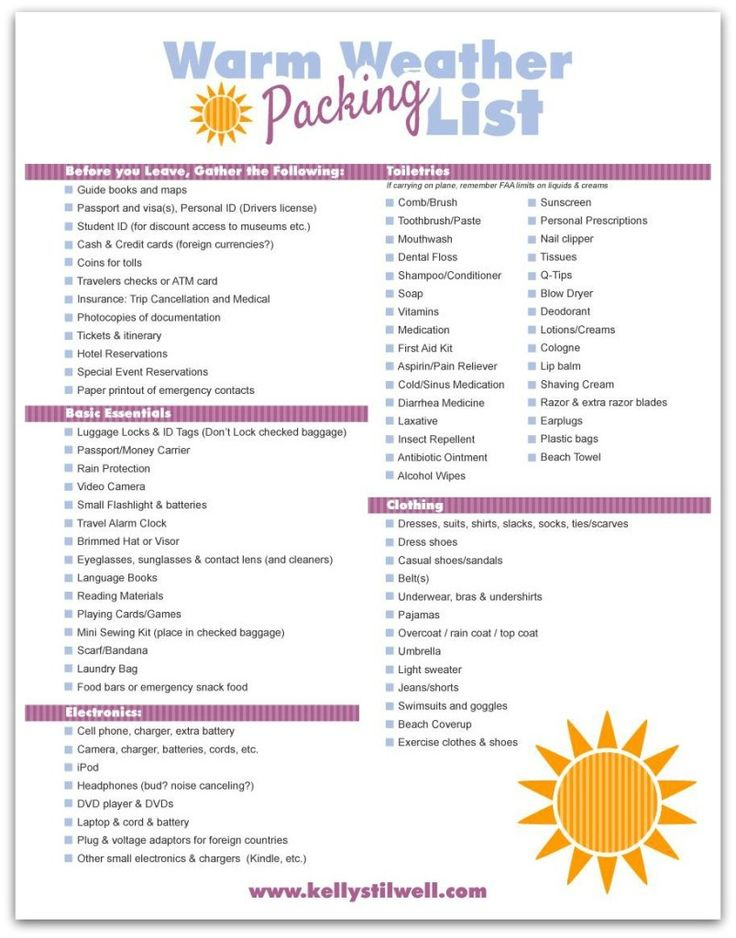 Sample Beach Checklist Printable Travel Checklist Pdf