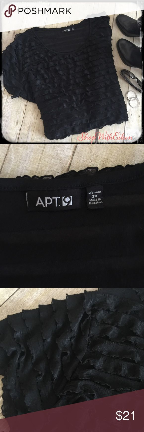 Apt. 9 Black Ruffle All over Top! Christmas Staple Apt. 9 Black Ruffle All over Top! Christmas Staple forsure! Dress it up or dress it down and it will be perfect for this time of year! Very soft at 95% polyester 5% spandex EUC Apt.9 Tops Tees - Short Sleeve