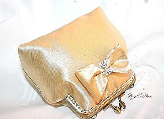 gold coin purse gold wallet gold kiss lock by AngelineRosePurse