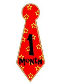 FREE monthly iron on transfers for baby boys - tie shaped iron-ons