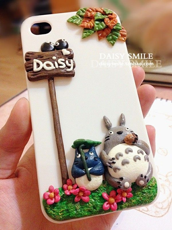 Polymer Clay Totoro Phone cover case!!! so cute >