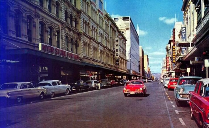 Adelaide city. Rundle Street. Back when! Lovely old cars.