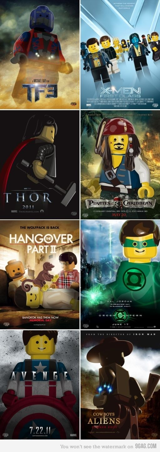 """Oh God, these are so cute. I love LEGOs already, but to see them acting out some of my favorite movie posters is fantastic! I'm especially loving the """"X-Men First Class"""" group."""