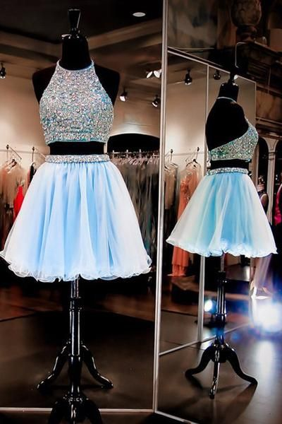 f20cd9970fc Sparkle Halter Two Pieces Baby Blue Homecoming Dress-Tirdresses