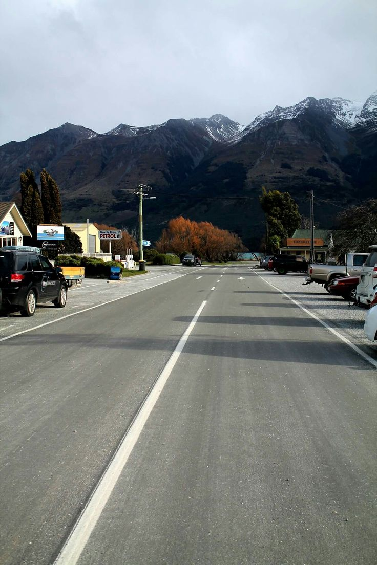 Main street of Glenorchy #mainstreet #street #road #line #cars #autumn #moutains #snow #beautiful #country #town #pretty #nature #Glenorchy #queenstown #nz #newzealand