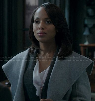 Olivia's grey shawl collar coat on Scandal.  Outfit Details: http://wornontv.net/20527/ #Scandal #ABC