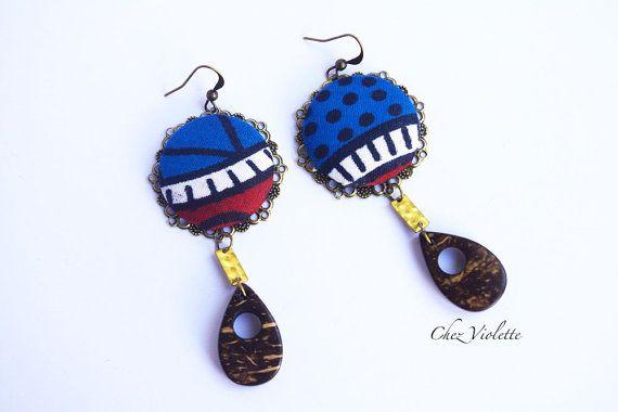 wood and fiber earrings Ethnic African Tribal by chezviolette #spsteam #etycij15