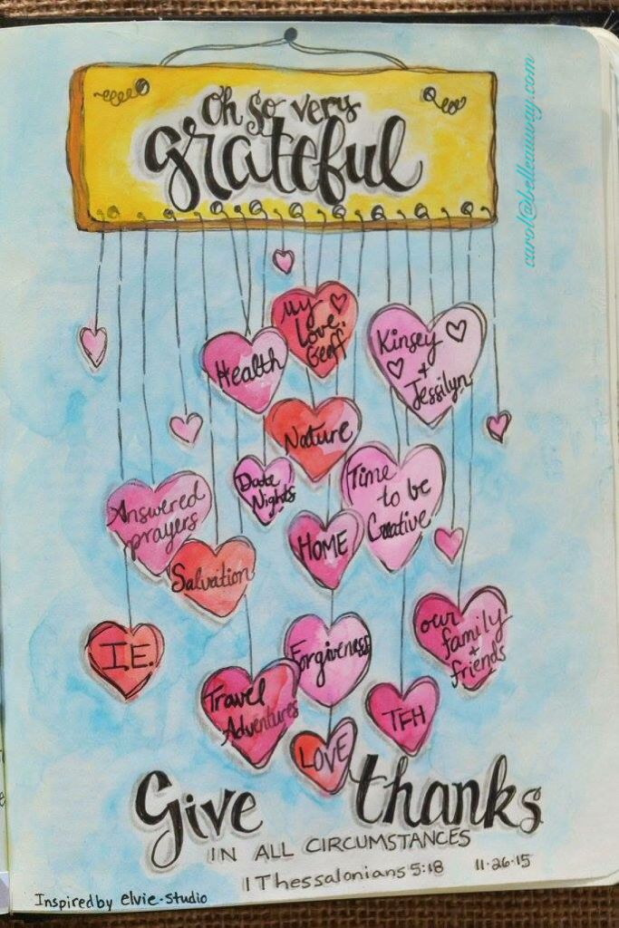 1 Thessalonians 5:18 November 26, 2015 carol@belleauway.com, watercolor, bible art journaling, journaling bible, illustrated faith