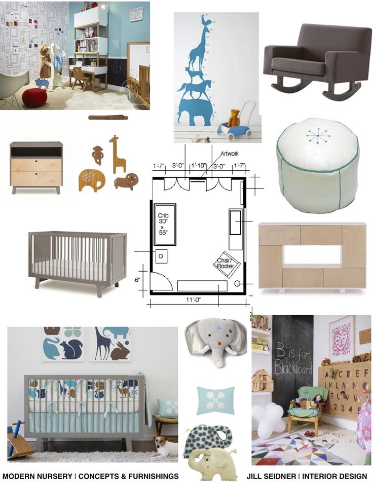 Concept board for nursery furniture.