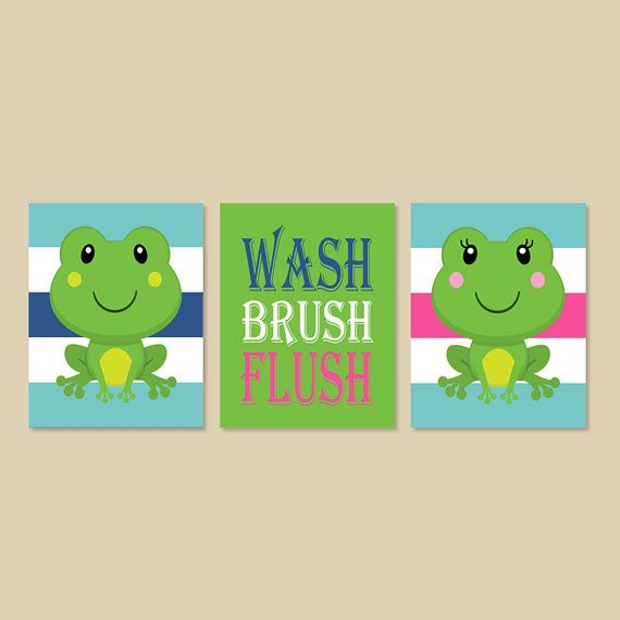 Frog Bathroom Decor Boy Girl Bathroom Wash by LovelyFaceDesigns, $29.00