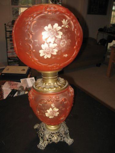 Antique Gone With The Wind Oil Lamp Unique Orange Glass | EBay