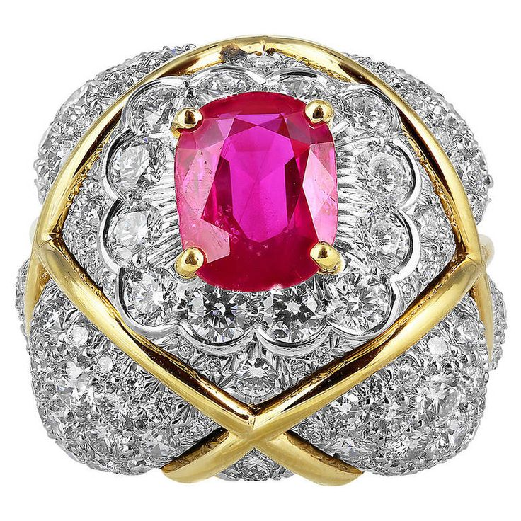 David Webb No Heat Burma Ruby Diamond Gold Ring | From a unique collection of vintage band rings at https://www.1stdibs.com/jewelry/rings/band-rings/