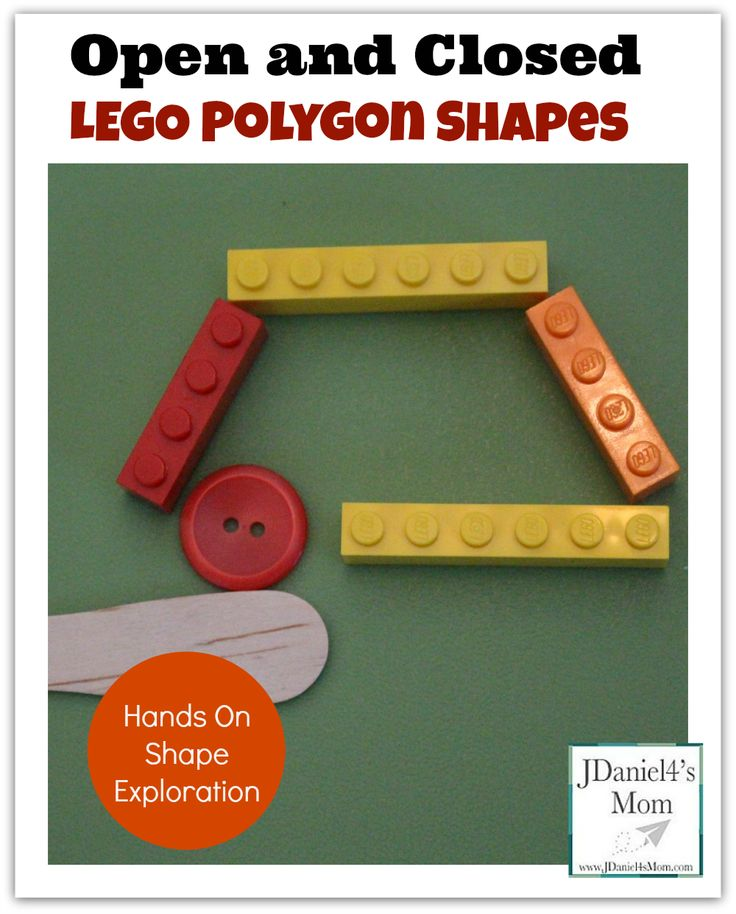 Open and Closed LEGO Polygon Shapes- While exploring these LEGO made shapes with a button a wooden spoon, kids will learn more about open and closed shapes.