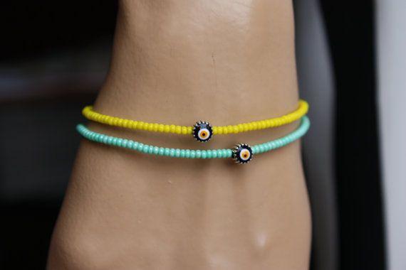 Summer Color Evil Eye Friendship Bracelet by MonroeJewelry on Etsy