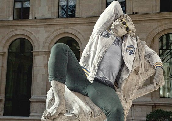 Classical sculptures dressed as hipsters look contemporary and totally badass.