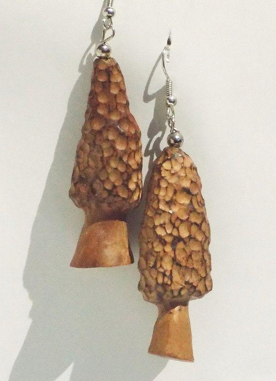 wild wood, Morel Mushroom Earrings, Made of Wild Wood,OOAK, with Silver Latches, morel mushroom,handmade, sculpture, carving