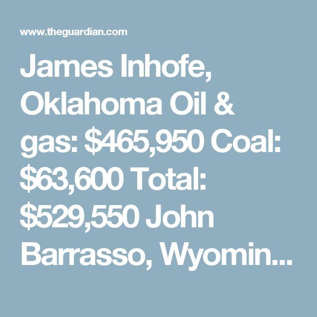 James Inhofe, Oklahoma Oil & gas: $465,950  Coal: $63,600  Total: $529,550  John Barrasso, Wyoming Oil & gas: $458,466  Coal: $127,356  Total: $585,822  Mitch McConnell, Kentucky Oil & gas: $1,180,384  Coal: $361,700  Total: $1,542,084  John Cornyn, Texas Oil & gas: $1,101,456  Coal: $33,050  Total: $1,134,506  Roy Blunt, Missouri Oil & gas: $353,864  Coal: $96,000  Total: $449,864  Roger Wicker, Mississippi Oil & gas: $198,816  Coal: $25,376  Total: $224,192  Michael Enzi, Wyoming Oil…