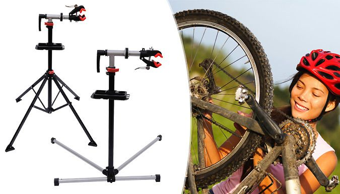 Buy Bicycle Maintenance Repair Stand - 2 Designs for just £30.99 Repair and clean in safety with Bicycle Maintenance Repair Stand      Four support legs for stability while fixing      Variable working height adjustments (100 - 190cm)      Change angle of bike with a quick release system      Support rubber jaws to grip bike without damage      Complete with a tool tray for easy storage     ...
