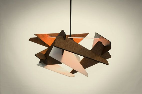 wood Pendant Light lasercut Chandelier lamp Handmade plywood hanging ceiling cup…
