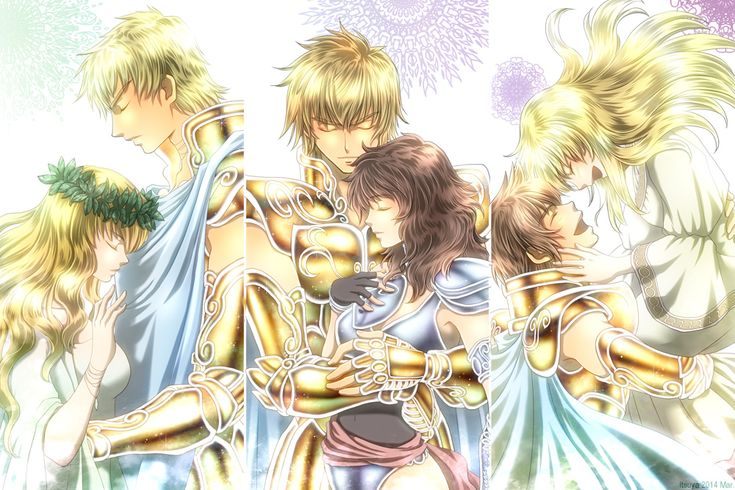 Couples of Leo (Ilias and Alkes, Aioria and Marin, Regulus and Conner) by Itsuya999