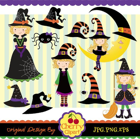 Halloween Cute Witches digital clipart set