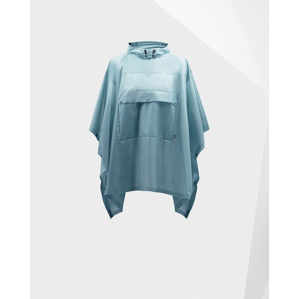 Hunter Original clear poncho ($126) ❤ liked on Polyvore featuring outerwear, porcelain blue, lightweight poncho, waterproof poncho, hooded poncho and clear poncho