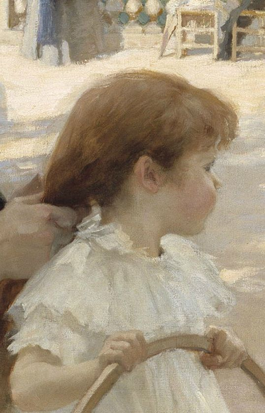"Albert Edelfelt, ""Pariisin Luxembourgin Puistossa"" (""The Luxembourg Gardens, Paris""), detail"