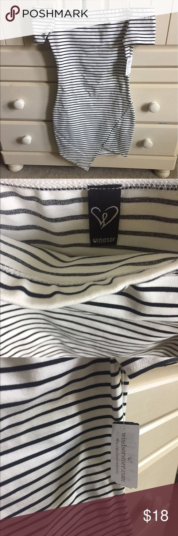 Windsor Dress (NWT) Striped Windsor dress. Off the shoulder. Fitted size small. New With Tags! Windsor Dresses Asymmetrical