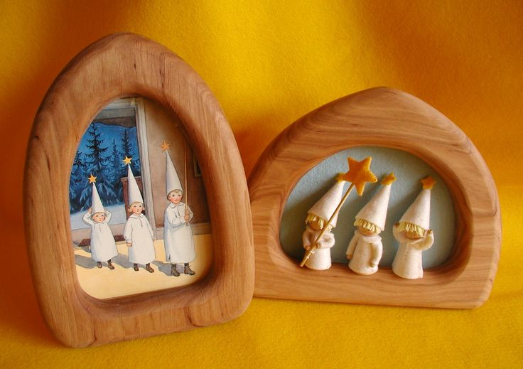 I love the Elsa Beskow plus Atelier Pippilotta kit Three Little Light Bearer's in these gorgeous frames, what a beautiful idea...