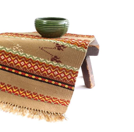 Vintage Southwestern Table Runner - Serape - Woven Table Cover - Mexico on Etsy, $27.00