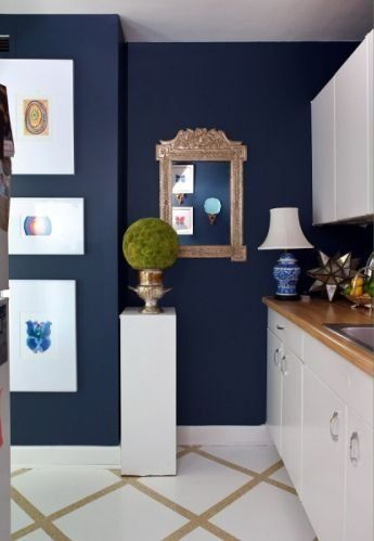 Deep nautical blue walls with crisp white - gorgeous!