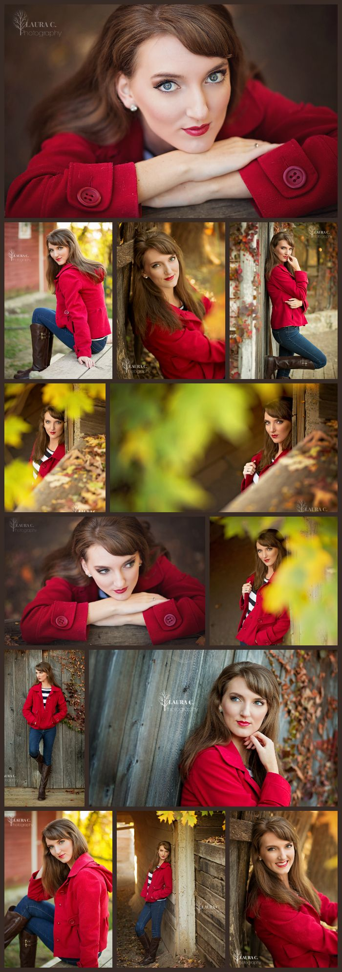 Erin Cejka | 2016 Senior | Senior Portraits | What to Wear for Senior Portraits | Poses for Senior Girls | Red Pea Coat | Farm | Rural | Fall Senior Pictures | Laura C. Photography 2015 | Photographer based in Gretna, NE