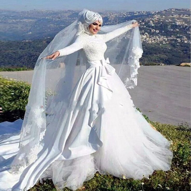 Find More Wedding Dresses Information about Muslim Wedding Dresses Full Sleeve Appliques Beading Bridal Gowns Lace Long White Bow A Line Islamic Wedding Dress With Hijab,High Quality skirt stock,China skirt pant Suppliers, Cheap skirt bikini from Suzhou Yast Wedding Dress Store on Aliexpress.com